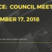 NOTICE:  Council Meeting December 17, 2018